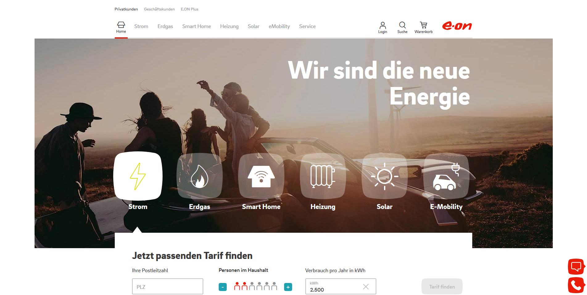 E.ON Screenshot Strom, Gas und mehr
