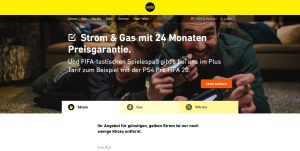 Screenshot Yello Strom und Gasanbieter